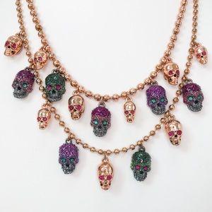 Betsey Johnson Glitter Skulls Double Necklace